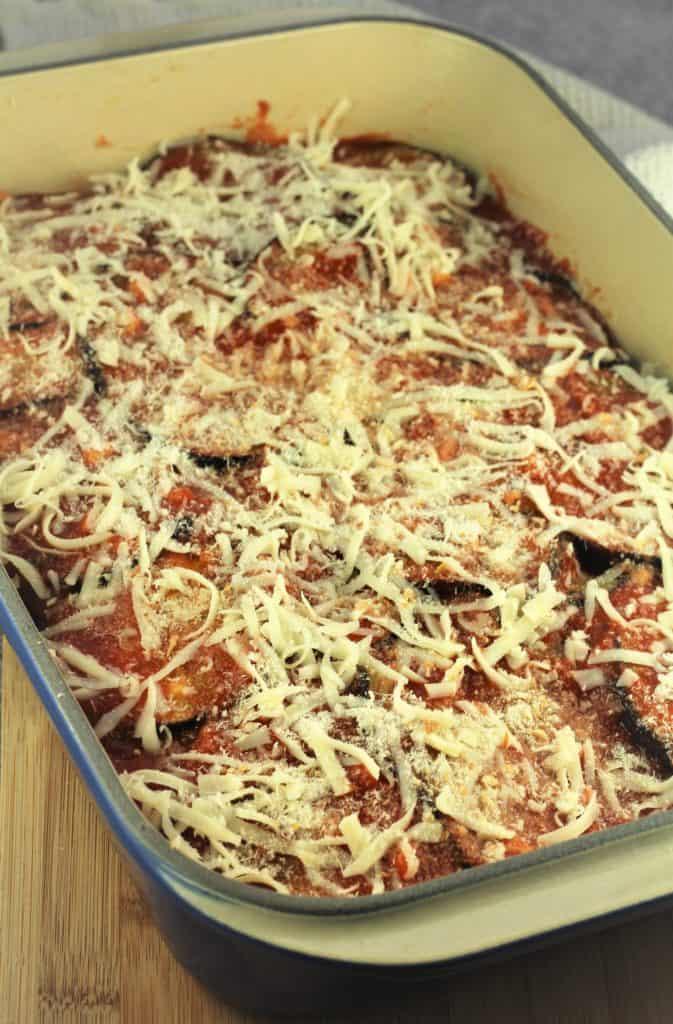 casserole dish with eggplant parmigiana