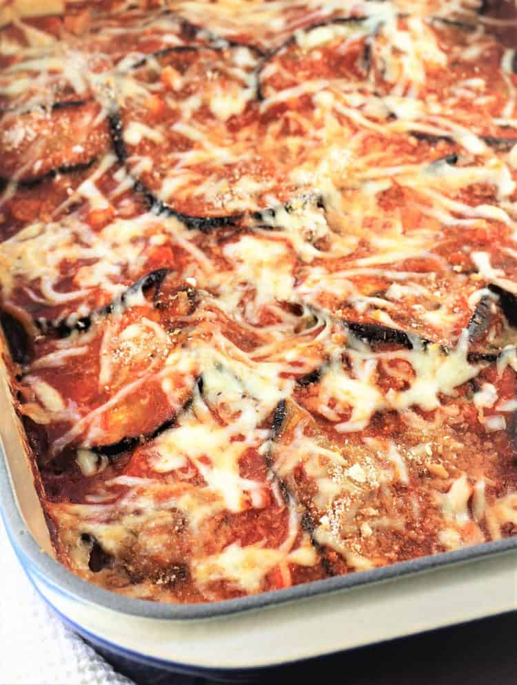 casserole dish with baked Mom's Eggplant Parmigiana