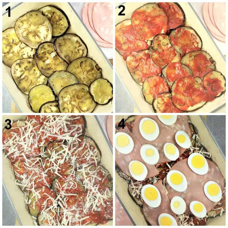 step by step images of eggplant parmigiana layers