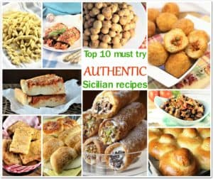 collage of 10 Sicilian foods