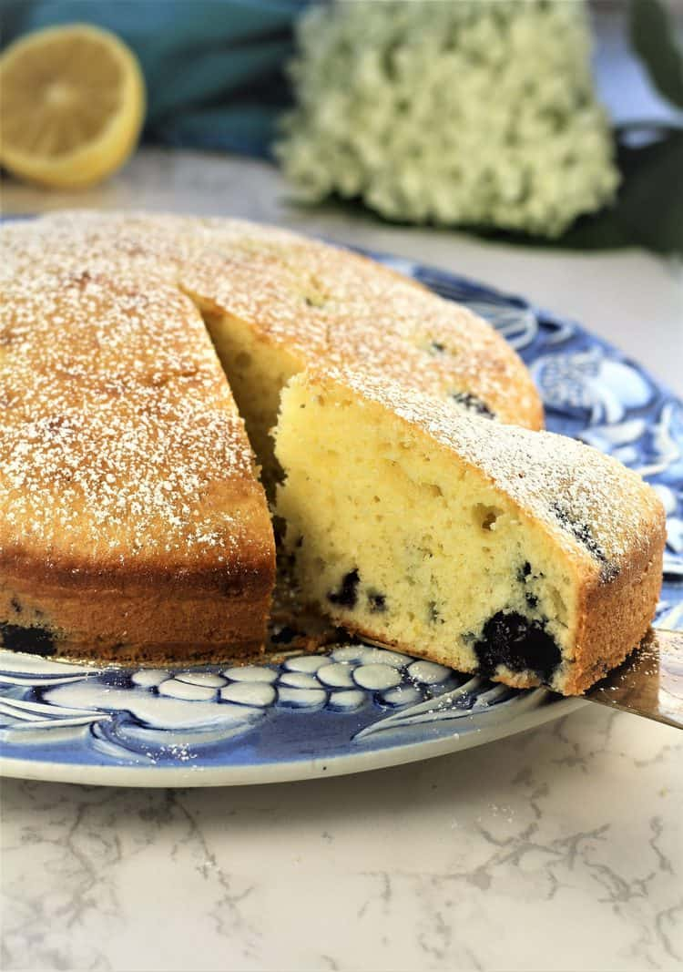 blueberry olive oil cake wedge served from blue and white cake plate