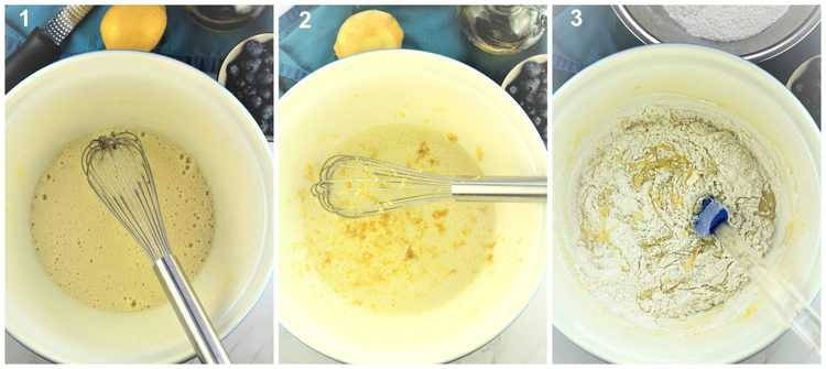 step by step images for making cake batter in large mixing bowl