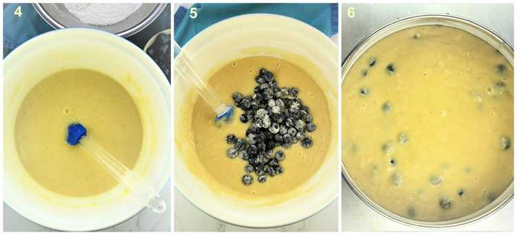 step by step images of cake batter with blueberries in large mixing bowl