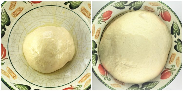 before and after images of dough rising in large bowlSwiss Chard filled Pizza (Pizza con bietole)Swiss Chard filled Pizza (Pizza con bietole)