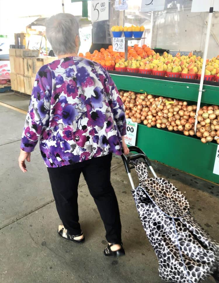 nonna pulling grocery cart in market