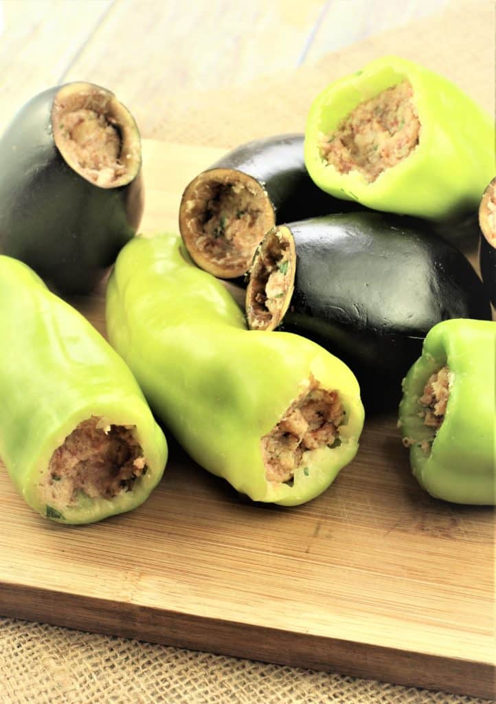 hollowed out peppers and eggplant with meatball filling