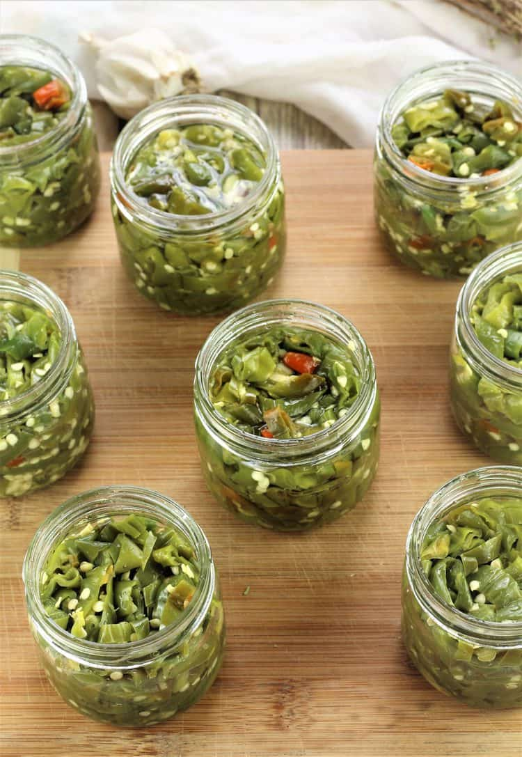 jars filled with Italian Hot Pickled Peppers