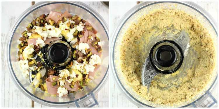 steps for blending ricotta, egg yolks, mortadella and pistachios in food processor bowl