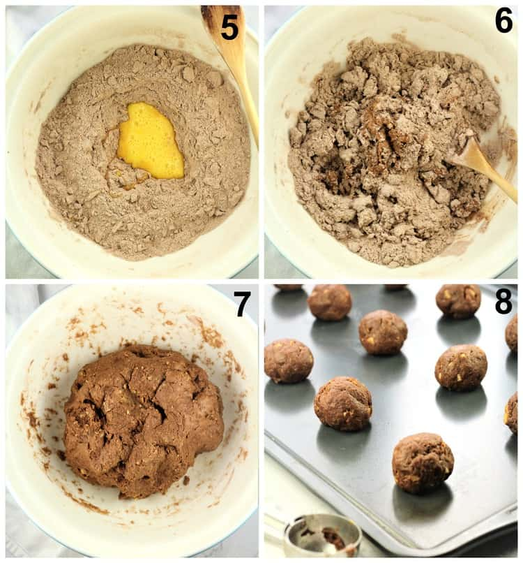 step by step images for shaping chocolate cookies