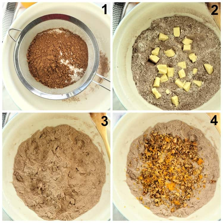 step by step images for mixing chocolate cookie doughTetù (Sicilian Chocolate Spice Cookies)