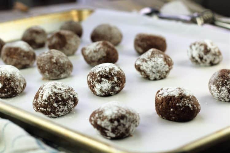 Chocolate Espresso Amaretti Cookie dough on baking sheet