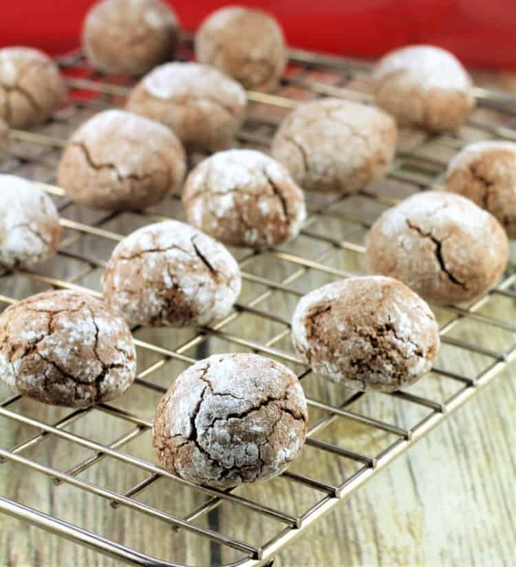 baked Chocolate Espresso Amaretti Cookies cooling on wire rack
