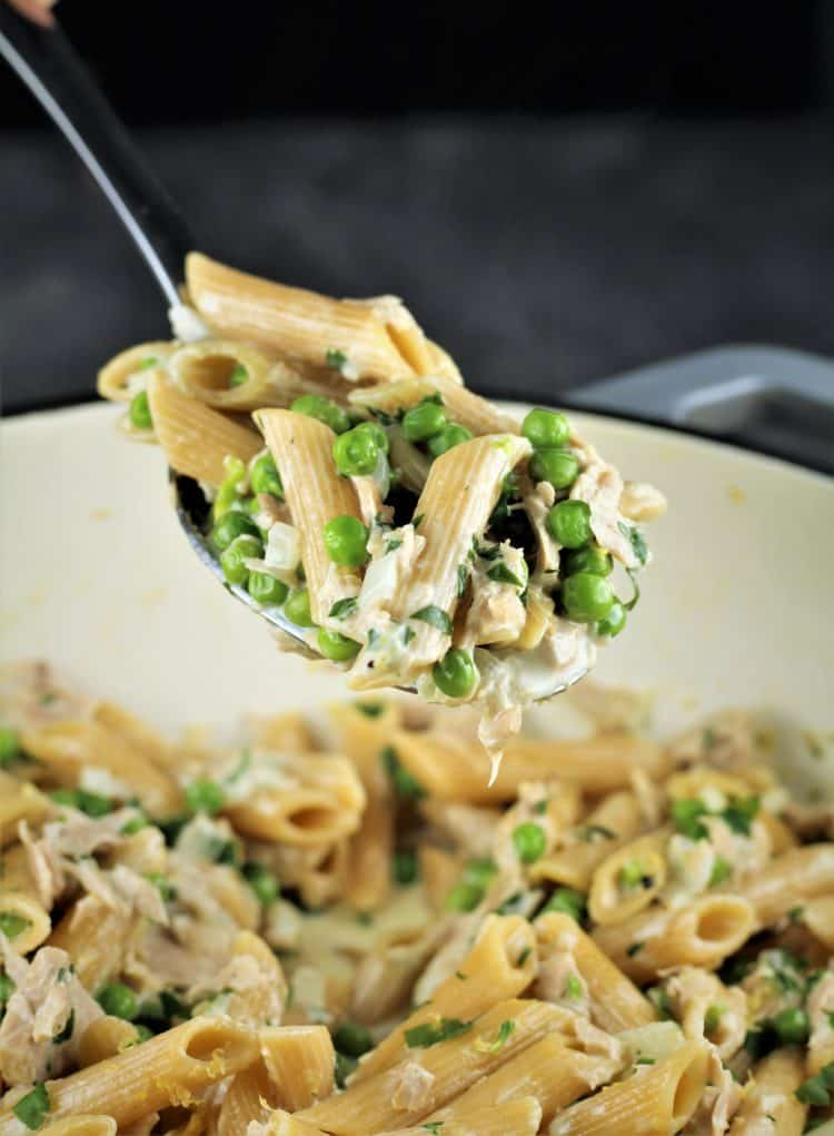spoonful of Pasta with Tuna and Peas in a Cream Sauce over skilled