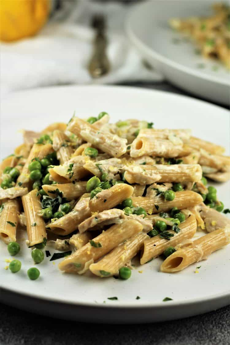 white round plate filled with Pasta with Tuna and Peas in a Cream Sauce