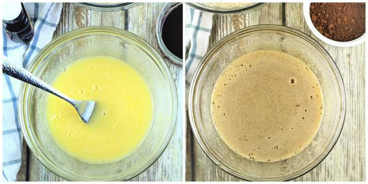 step by step images for mixing eggs, sugar and coffee for cookies