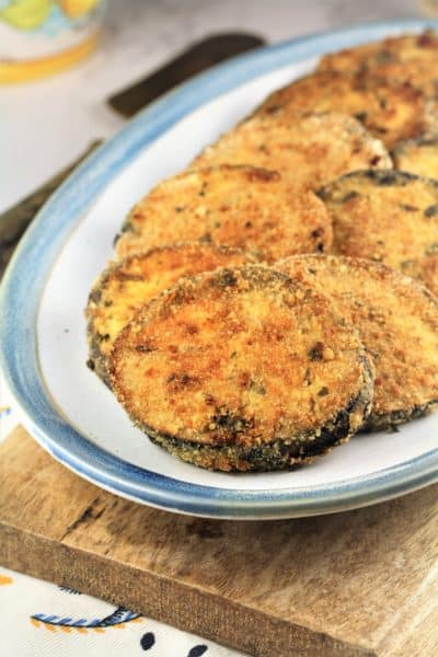 plate filled with crispy eggplant cutlets