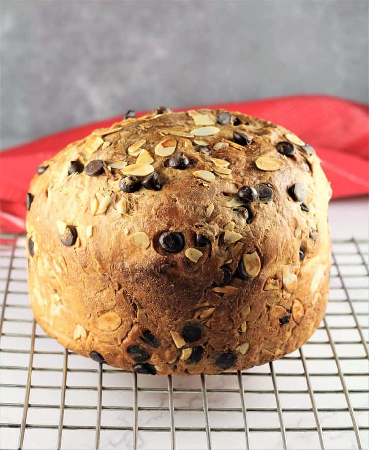 baked panettone cooling on wire rack