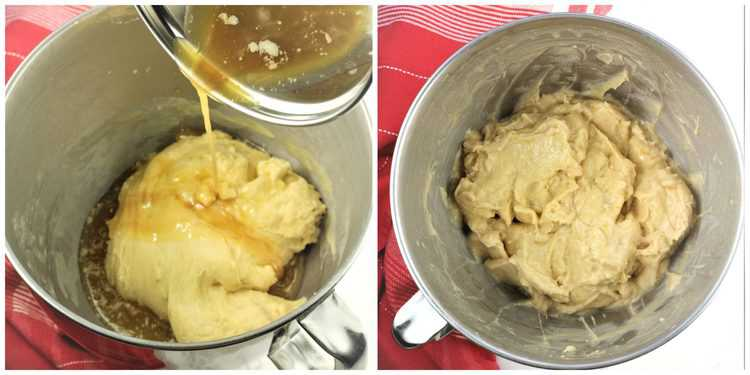 melted butter poured into dough in stand mixer dough and mixed to form sticky dough