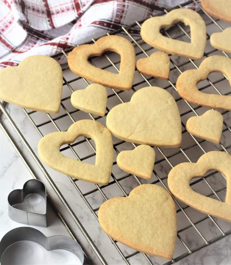 heart cookies on wire cooling rack