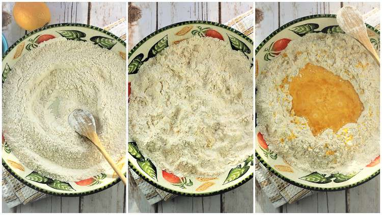 step by step images with bowls on how to make chiacchiere dough