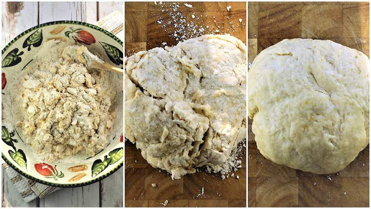 mixing dough to make chiacchiere