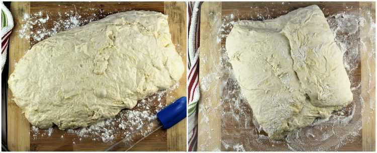 steps for folding no knead pizza dough