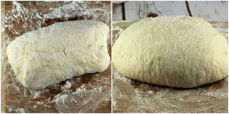 steps for folding no knead pizza dough and shaping into a ball