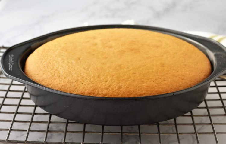 round cake pan with sponge cake in it on wire rack
