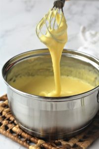 thick pastry cream whisked in sauce pan