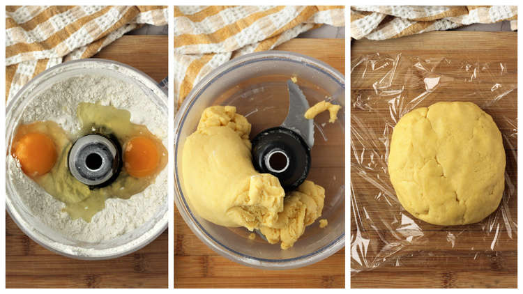 step by step images for making pie crust in food processor