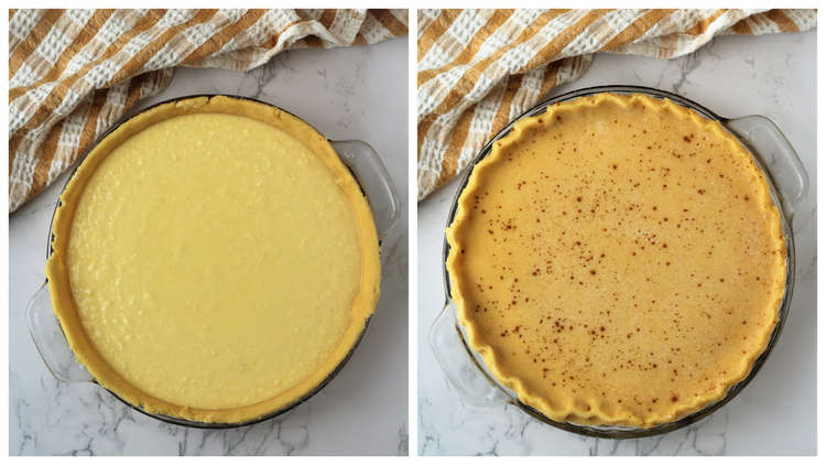 pie crust with ricotta filling in it and second image with pie crust over filling