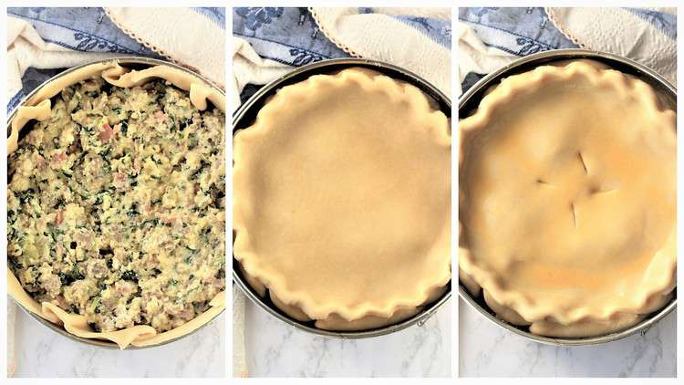 step by step images for filling pie dough and covering with top dough
