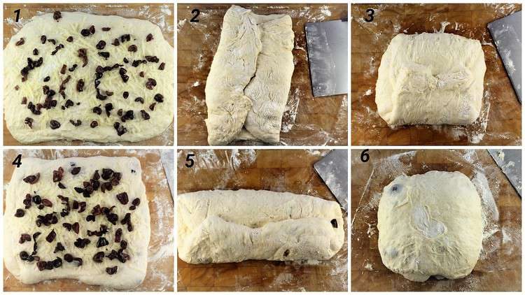 step by step images for folding olives and cheese in no knead dough