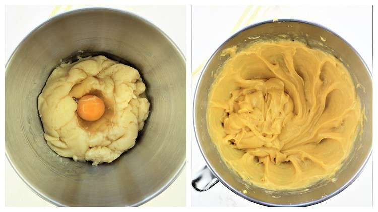 incorporating eggs into choux pastry in mixing bowl