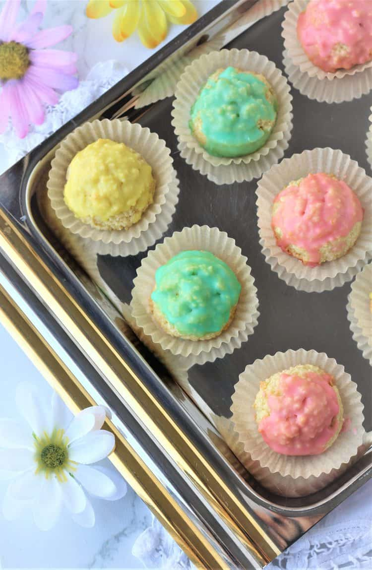 colorful almond cookies on silver tray