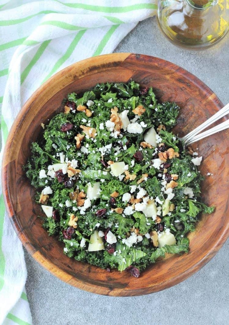 kale salad in wood salad bowl