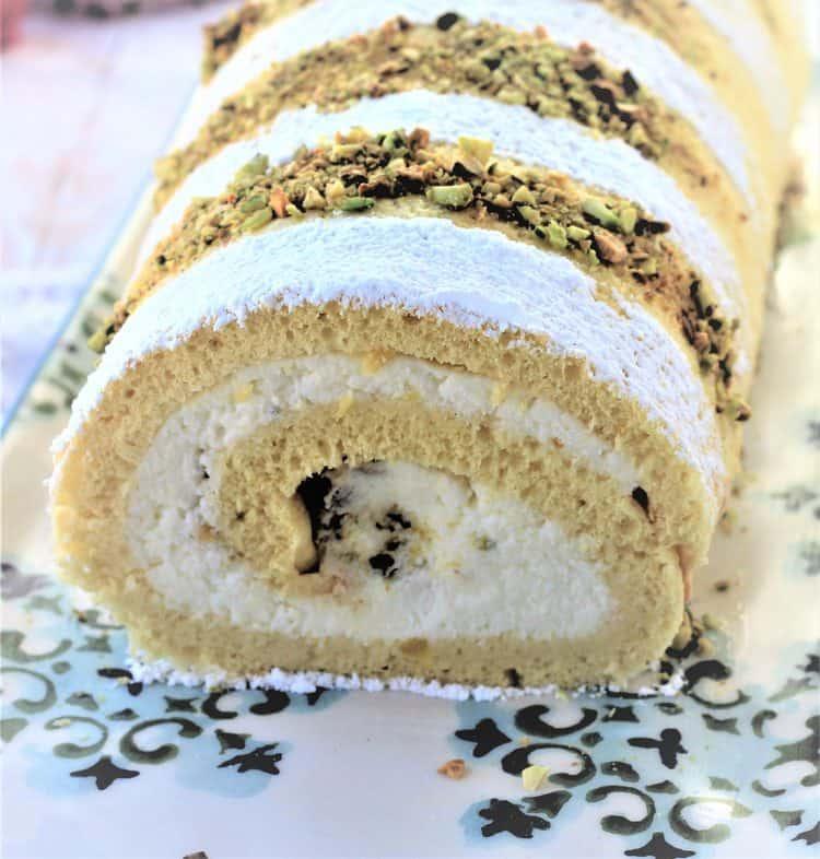 ricotta pistachio roll cake side view