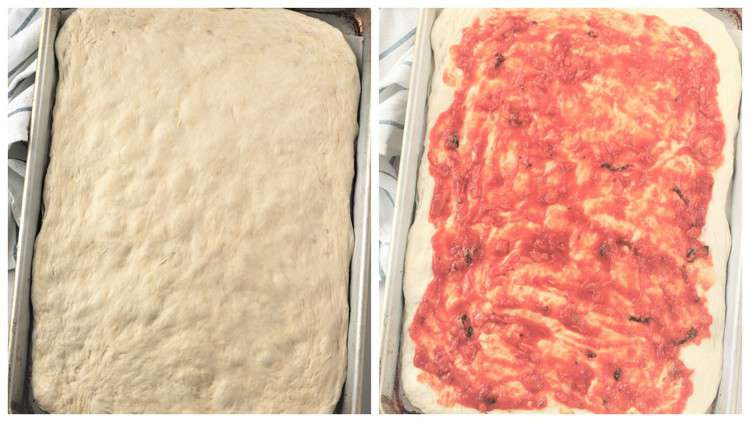 step by step covering pizza dough with tomato sauce