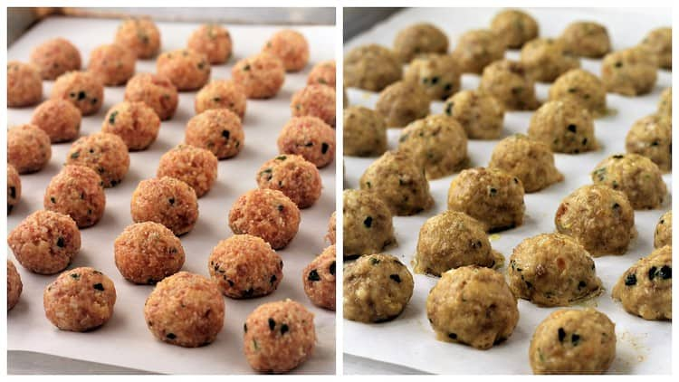 small meatballs on baking sheet raw and baked