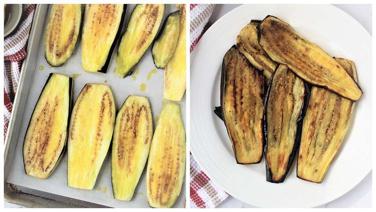 eggplant strips on baking sheet and roasted eggplant on plate