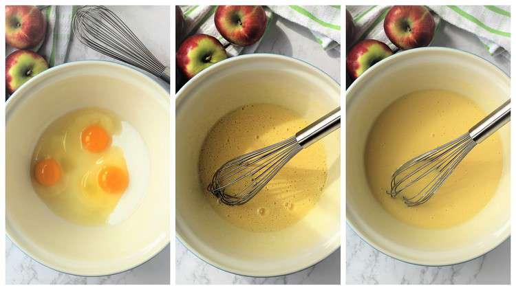 step by step images whisking eggs with sugar in bowl