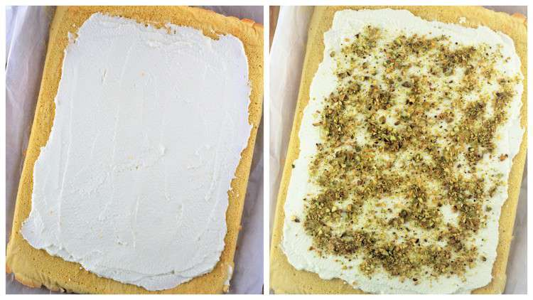 spreading ricotta and topping with pistachios over sponge cake roll