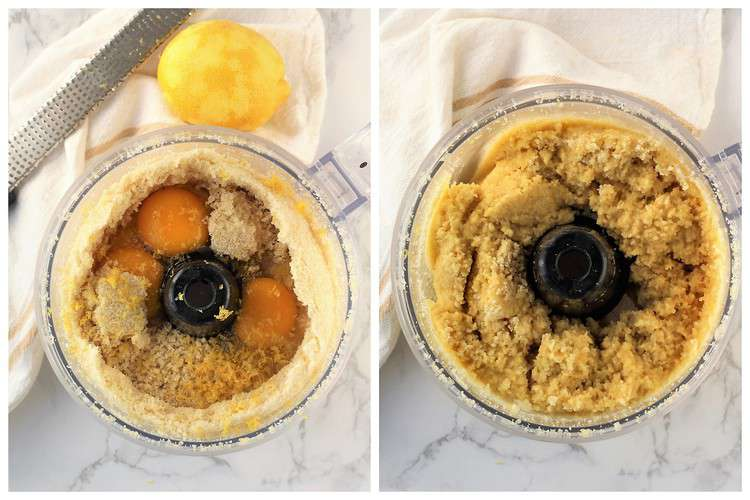 adding eggs and lemon zest to crushed almonds in food processor bowl