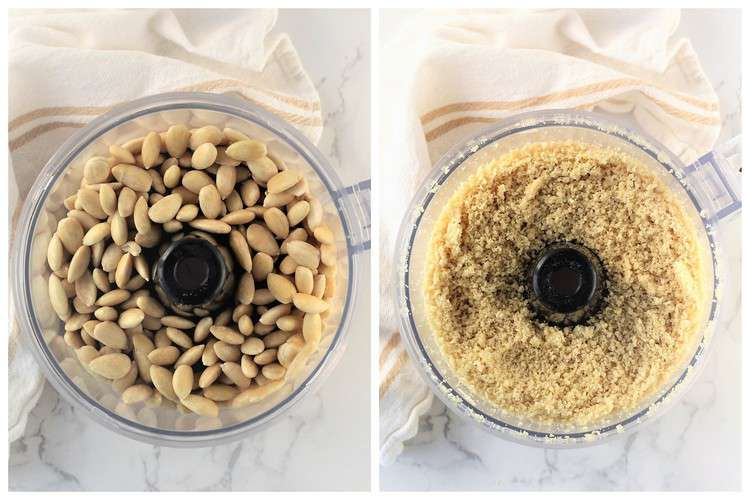 step by step images to grind whole almonds in food processor bowl