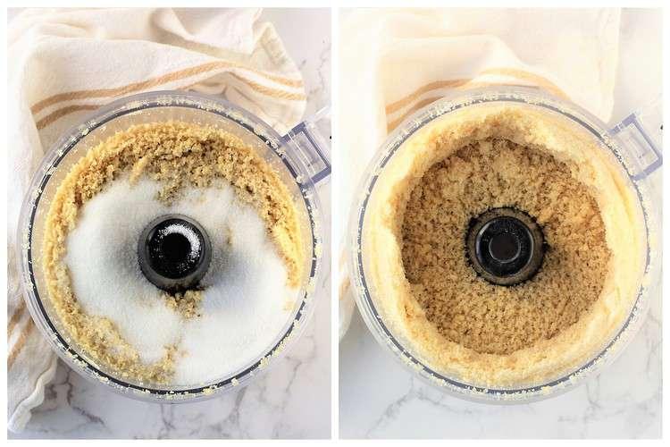 adding sugar to processed almonds in food processor bowl