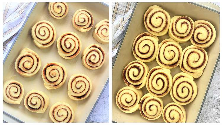 cinnamon rolls in pan before and after rising