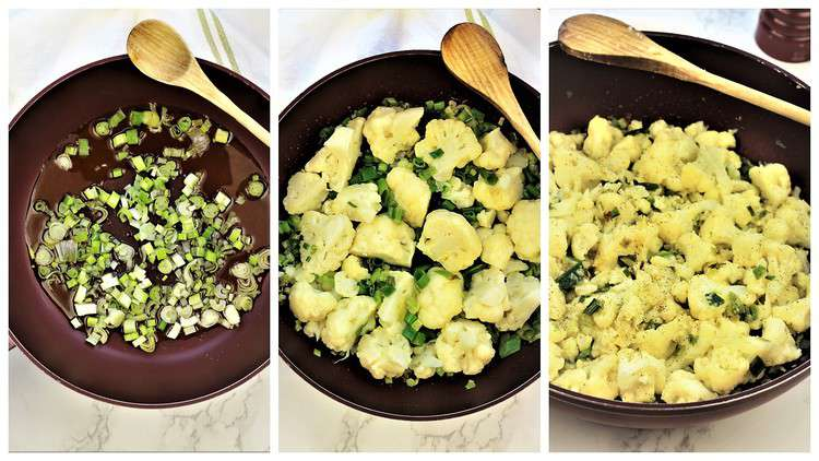 step by step sautéed green onions with cauliflower in skillet