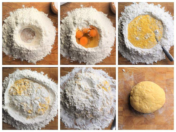 step by step images for making fresh pasta dough with flour and eggs