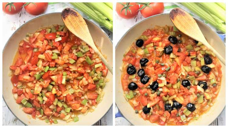 large skillet with sautéd onion, celery, tomatoes and black olives