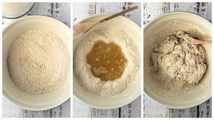 step by step images for making pizza dough in bowl